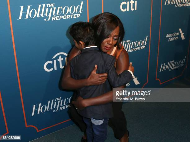 Actors Sunny Pawar and Viola Davis attend The Hollywood Reporter 5th Annual Nominees Night at Spago on February 6 2017 in Beverly Hills California