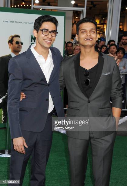 Actors Suraj Sharma and Madhur Mittal arrive at the Los Angeles premiere of 'Million Dollar Arm' at the El Capitan Theatre on May 6 2014 in Hollywood...