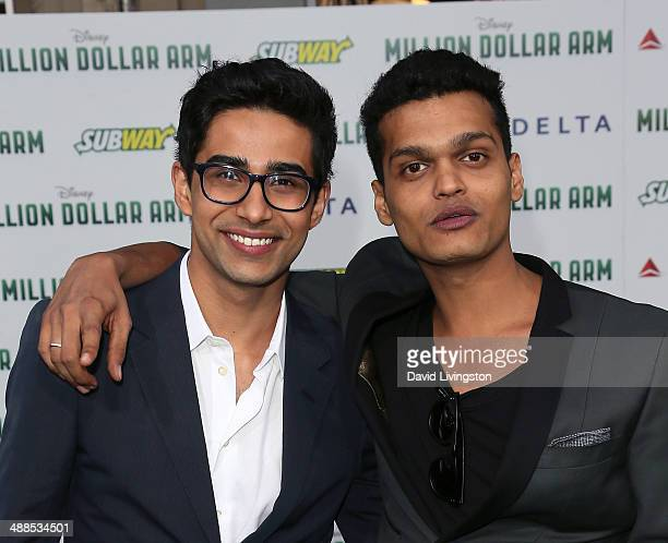 Actors Suraj Sharma and Madhur Mittal attend the premiere of Disney's 'Million Dollar Arm' at the El Capitan Theatre on May 6 2014 in Hollywood...