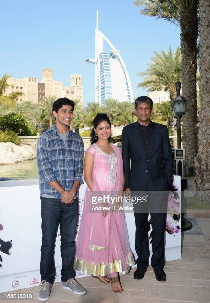 Actors Suraj Sharma Shravanthi Sainath and Adil Hussain attend the 'Life of PI' photocall during day one of the 9th Annual Dubai International Film...