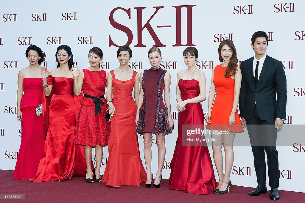 Actors Susan Bachtiar, Suquan Bulakul, Kim Hee-Ae, Tang Wei, Kate Bosworth, Lim Soo-Jung, Lee Yeon-Hee and Yoo Ji-Tae pose for the photogrpahs during the SK-II Honoring The Spirit Of Discovery event at the Raum on July 3, 2013 in Seoul, South Korea.