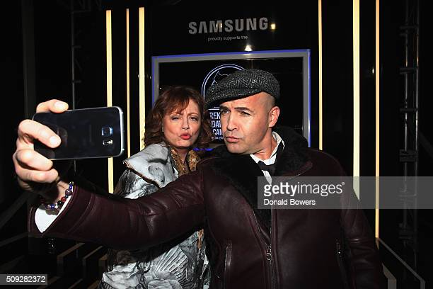 Actors Susan Sarandon and Billy Zane show their support for the Derek Zoolander Foundation with a Samsung Galaxy S6 edge selfie at the premiere of...