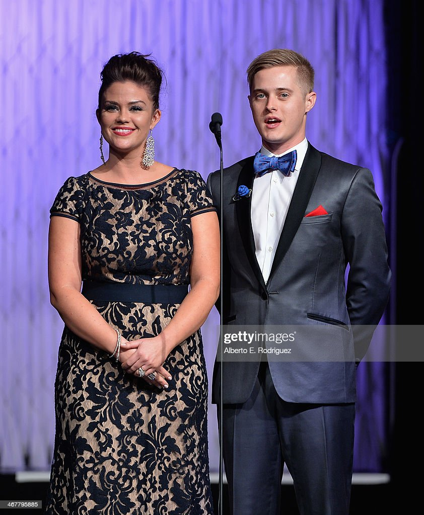 Actors Susan Ward and Lucas Grabell speak on stage at the 22nd Annual Movieguide Awards Gala at the Universal Hilton Hotel on February 7 2014 in...