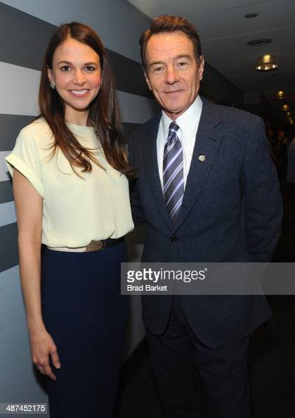 Actors Sutton Foster and Bryan Cranston attend the 2014 Tony Awards Meet The Nominees Press Reception at the Paramount Hotel on April 30 2014 in New...