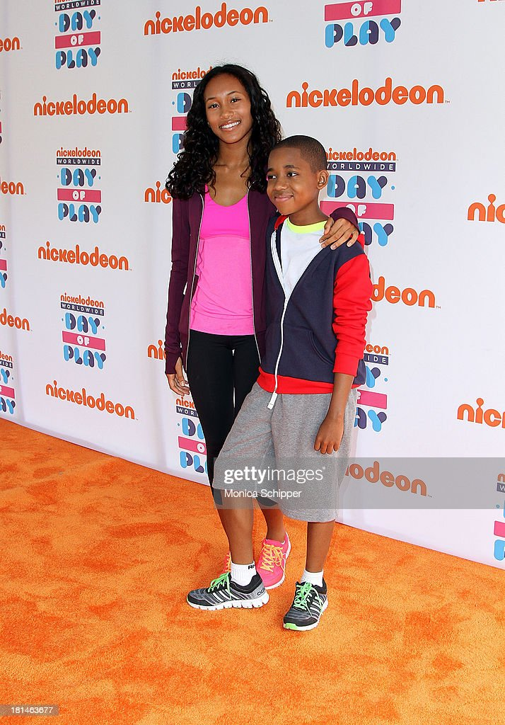 Actors Sydney Park and Tylen Williams attend Worldwide Day of Play 2013 at the Nethermead at Prospect Park on September 21, 2013 in Brooklyn, New York.