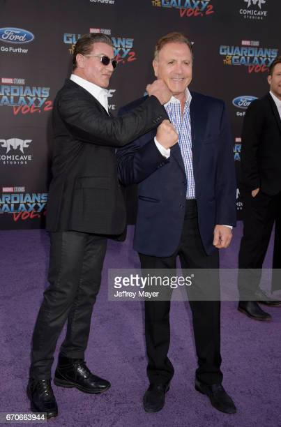 Actors Sylvester Stallone and Frank Stallone arrive at the Premiere Of Disney And Marvel's 'Guardians Of The Galaxy Vol 2' at Dolby Theatre on April...