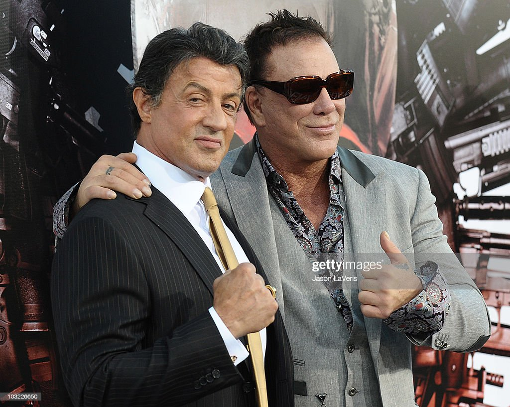 Actors <a gi-track='captionPersonalityLinkClicked' href=/galleries/search?phrase=Sylvester+Stallone&family=editorial&specificpeople=202604 ng-click='$event.stopPropagation()'>Sylvester Stallone</a> and <a gi-track='captionPersonalityLinkClicked' href=/galleries/search?phrase=Mickey+Rourke+-+Actor&family=editorial&specificpeople=208916 ng-click='$event.stopPropagation()'>Mickey Rourke</a> attend the premiere of 'The Expendables' at Grauman's Chinese Theatre on August 3, 2010 in Hollywood, California.