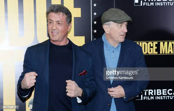 Actors Sylvester Stallone and Robert De Niro attend the 'Grudge Match' screening benefiting the Tribeca Film Insititute at Ziegfeld Theater on...