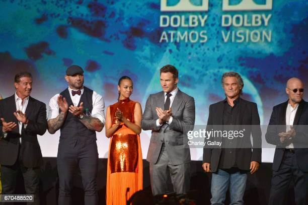 "Actors Sylvester Stallone Dave Bautista Zoe Saldana Chris Pratt Kurt Russell and Michael Rooker at The World Premiere of Marvel Studios' ""Guardians..."