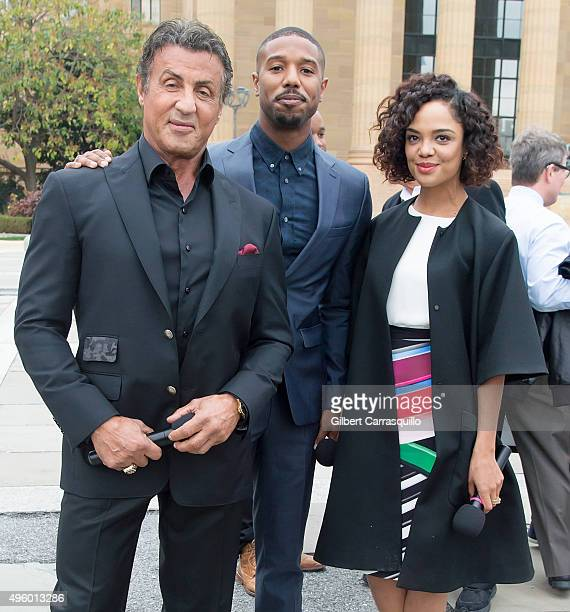 Actors Sylvester Stallone Michael B Jordan and Tessa Thompson pose during a Cast Of Creed Appearance at Philadelphia Museum of Art on November 6 2015...