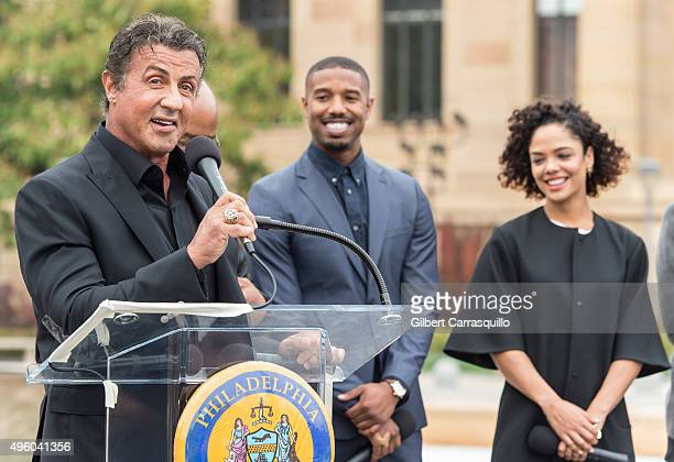 Actors Sylvester Stallone Michael B Jordan and Tessa Thompson speak during a Cast Of Creed Appearance at Philadelphia Museum of Art on November 6...