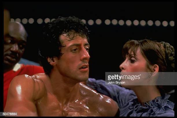 Actors Sylvester Stallone Talia Shire in scene fr motion picture Rocky V