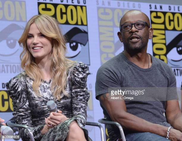 Actors Sylvia Hoeks and Lennie James attend the Warner Bros Pictures 'Blade Runner 2049' Presentation during ComicCon International 2017 at San Diego...