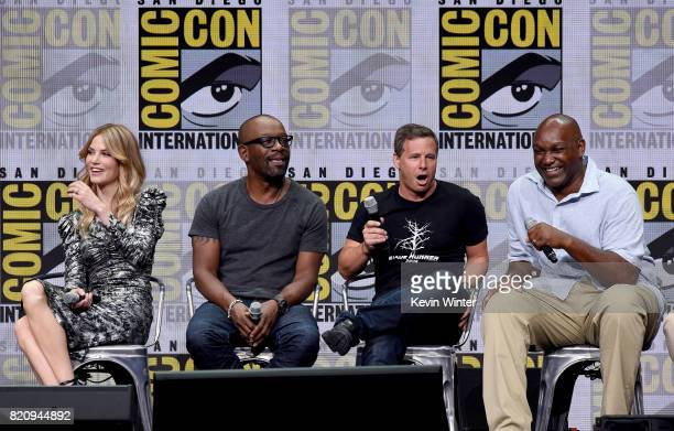 Actors Sylvia Hoeks and Lennie James producers Andrew A Kosove and Broderick Johnson attend the Warner Bros Pictures 'Blade Runner 2049' Presentation...