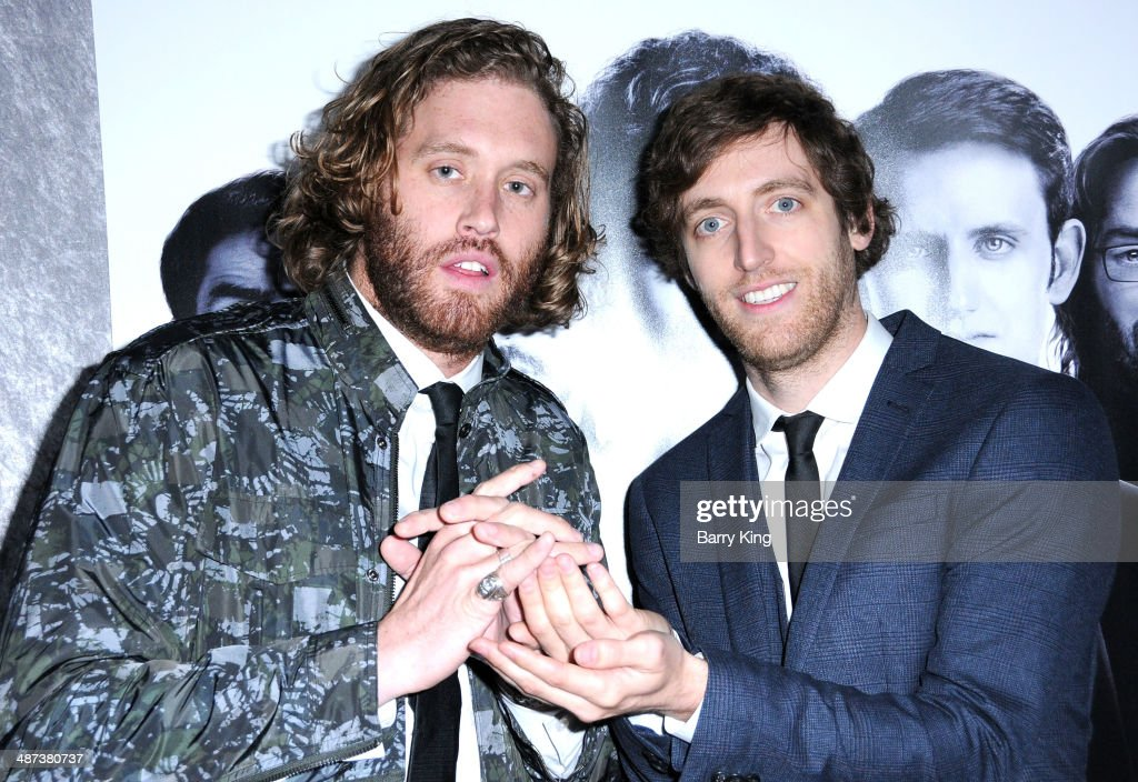 Actors T. J. Miller and Thomas Middleditch arrive at the premiere of 'Silicon Valley' on April 3, 2014 at Paramount Studios in Hollywood, California.