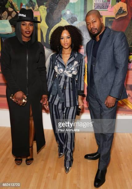 Actors Ta' Rhonda Jones Serayah McNeill and Morocco Omari attend MOCA's the opening of Kerry James Marshall Mastry at MOCA Grand Avenue on March 11...