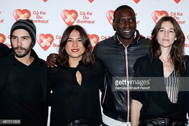 Actors Tahar Rahim Izia Higelin Omar Sy and Charlotte Gainsbourg attend the Samba Premiere to Benefit 'CekeDuBonheur' which celebrates its 10th...
