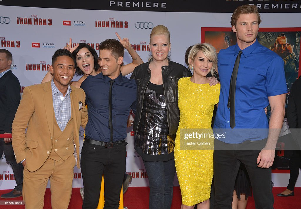 Actors Tahj Mowry,Jaimie Alexander, Jean-Luc Bilodeau,Melissa Peterman,Chelsea Kane and Derek Theler arrive at the 'Iron Man 3' Los Angeles Premiere at El Capitan Theatre on April 24, 2013 in Hollywood, California.