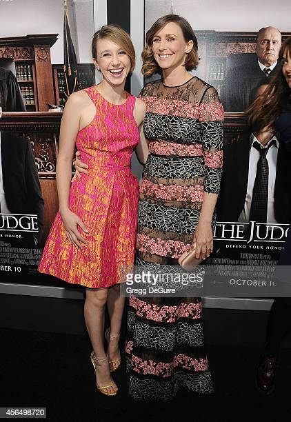 Actors Taissa Farmiga and sister Vera Farmiga arrive at the Los Angeles premiere of 'The Judge' at AMPAS Samuel Goldwyn Theater on October 1 2014 in...
