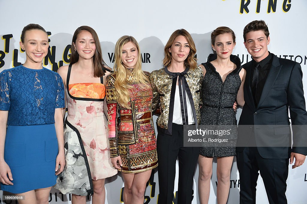 Actors Taissa Farmiga Katie Chang Claire Julien director Sofia Coppola actors Emma Watson and Israel Broussard arrive to the Los Angeles premiere of...