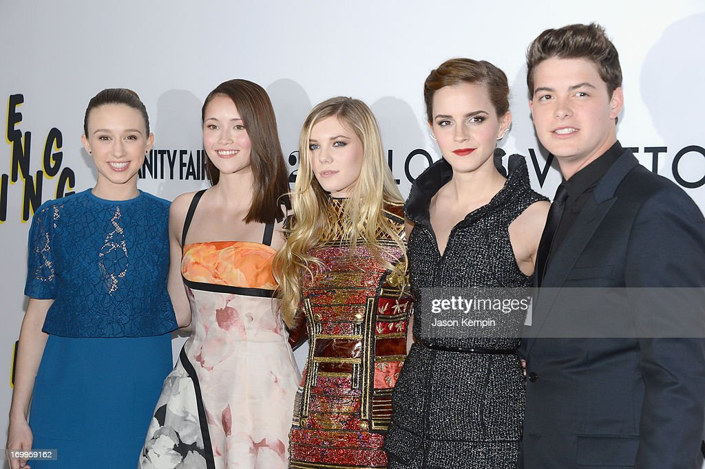 Actors <a gi-track='captionPersonalityLinkClicked' href=/galleries/search?phrase=Taissa+Farmiga&family=editorial&specificpeople=7447946 ng-click='$event.stopPropagation()'>Taissa Farmiga</a>, <a gi-track='captionPersonalityLinkClicked' href=/galleries/search?phrase=Katie+Chang&family=editorial&specificpeople=9505247 ng-click='$event.stopPropagation()'>Katie Chang</a>, <a gi-track='captionPersonalityLinkClicked' href=/galleries/search?phrase=Claire+Julien&family=editorial&specificpeople=9438148 ng-click='$event.stopPropagation()'>Claire Julien</a>, <a gi-track='captionPersonalityLinkClicked' href=/galleries/search?phrase=Emma+Watson&family=editorial&specificpeople=171373 ng-click='$event.stopPropagation()'>Emma Watson</a> and <a gi-track='captionPersonalityLinkClicked' href=/galleries/search?phrase=Israel+Broussard&family=editorial&specificpeople=7117795 ng-click='$event.stopPropagation()'>Israel Broussard</a> attend the premiere of A24's 'The Bling Ring' at the Directors Guild Of America on June 4, 2013 in Los Angeles, California.