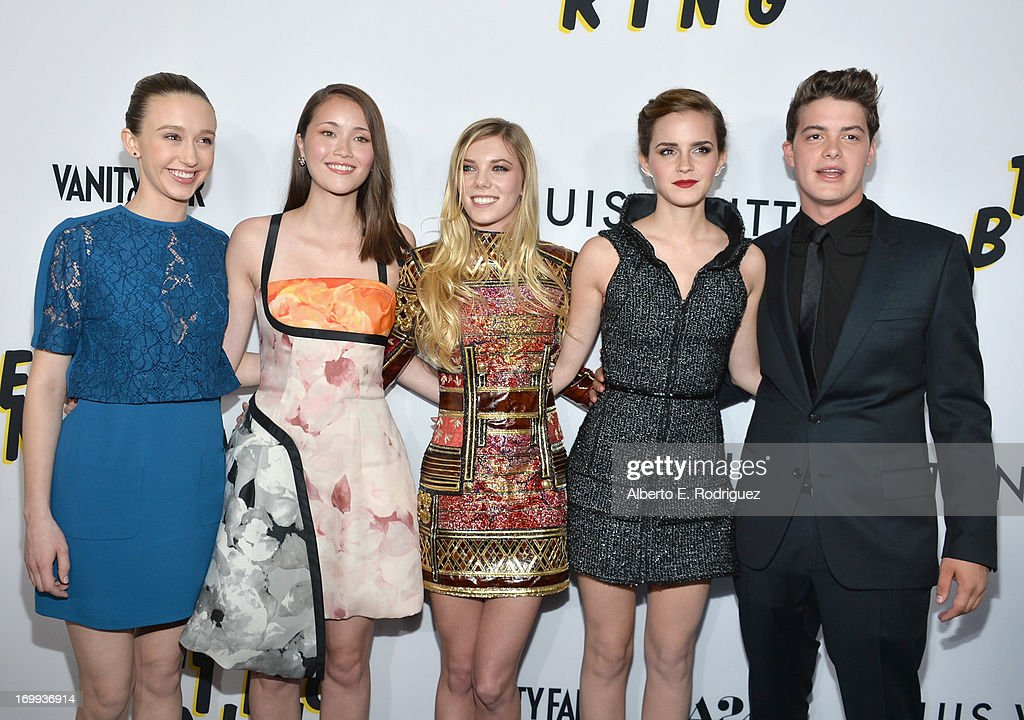 Actors Taissa Farmiga Katie Chang Claire Julien Emma Watson and Israel Broussard arrive to the Los Angeles premiere of A24's 'The Bling Ring' at...