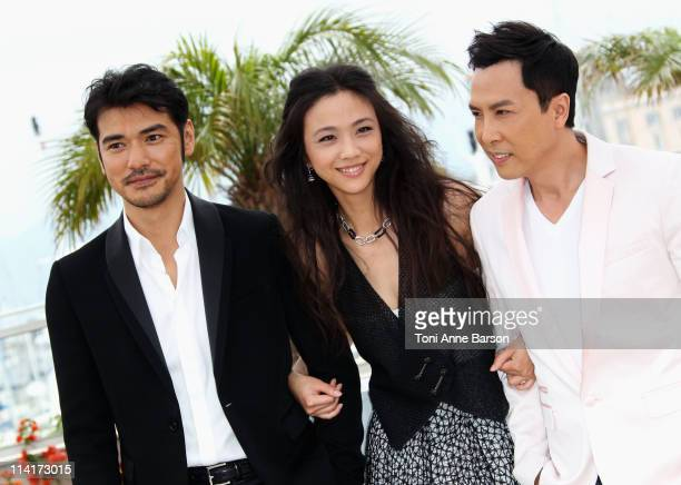 Actors Takeshi Kaneshiro Tang Wei and Donnie Yen attends the 'Wu Xia' Photocall during the 64th Annual Cannes Film Festival at Palais des Festivals...