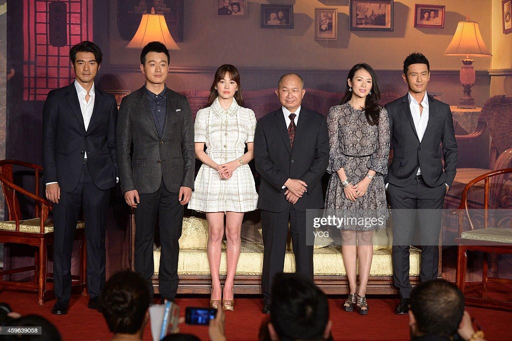 Actors Takeshi Kaneshiro Tong Dawei Song Hye Kyo director John Woo Actress Zhang Ziyi and actor Huang Xiaoming attend press conference for movie 'The...