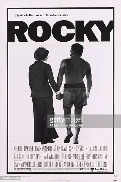 Actors Talia Shire and Sylvester Stallone feature on a poster for the boxing movie 'Rocky' 1976