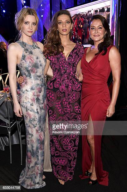 Actors Talulah Riley Angela Sarafyan and Sidse Babett Knudsen attend the 23rd Annual Screen Actors Guild Awards Cocktail Reception at The Shrine Expo...