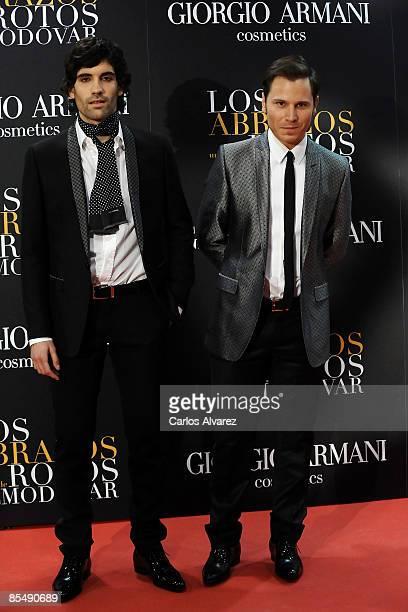 Actors Tamar Novas and Ruben Ochandiano attend 'Los Abrazos Rotos' premiere at the Proyecciones cinema on March 18 2009 in Madrid Spain