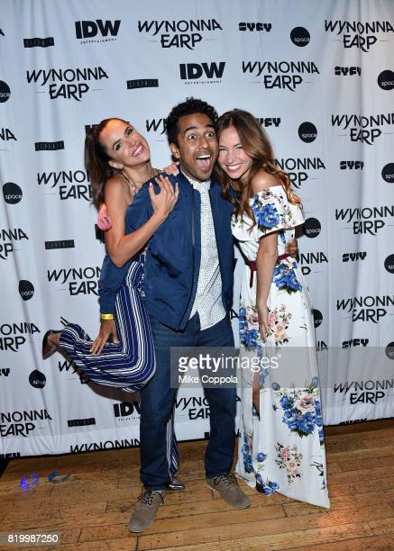 Actors Tamara Duarte Varun Saranga and Dominique ProvostChalkley at the 'Wynonna Earp' Media Mixer with cast and Fan Appreciation Party during...