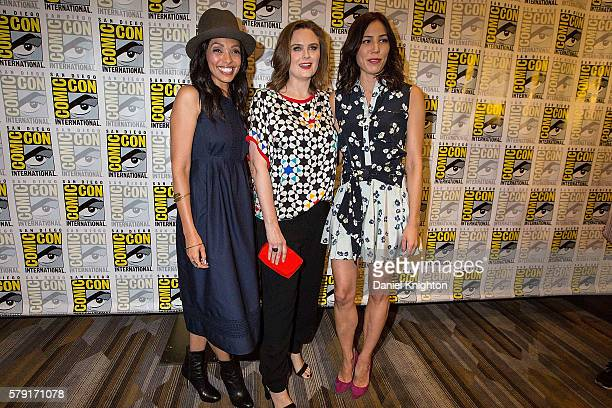Actors Tamara Taylor Emily Deschanel and Michaela Conlin attend the 'Bones' press line at ComicCon International Day 2 at Hilton Bayfront on July 22...
