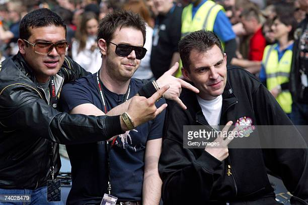 Actors Tamer Hassan and Danny Dyer and Tim Westwood prepare for Gumball 3000 race 2007 launch on April 29 2007 in London England The Rally starts on...
