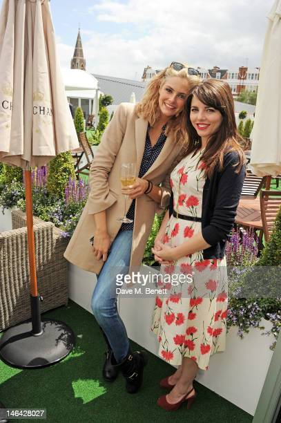 Actors Tamsin Egerton and Ophelia Lovibond attend the Moet Chandon suite at The Queen's Club Tennis Championships on June 16 2012 in London England