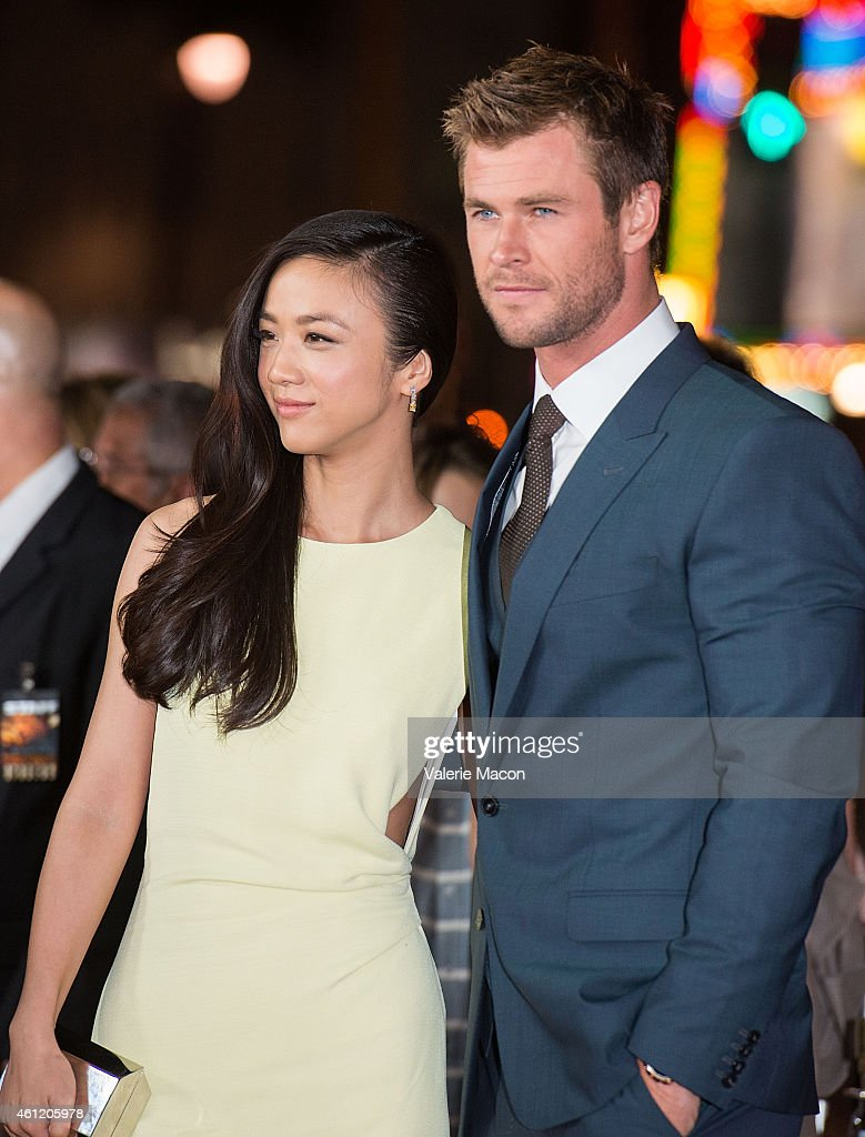 Actors Tang Wei and Chris Hemsworth arrive at the Premiere Of Universal Pictures And Legendary Pictures' 'Blackhat' at TCL Chinese Theatre IMAX on...