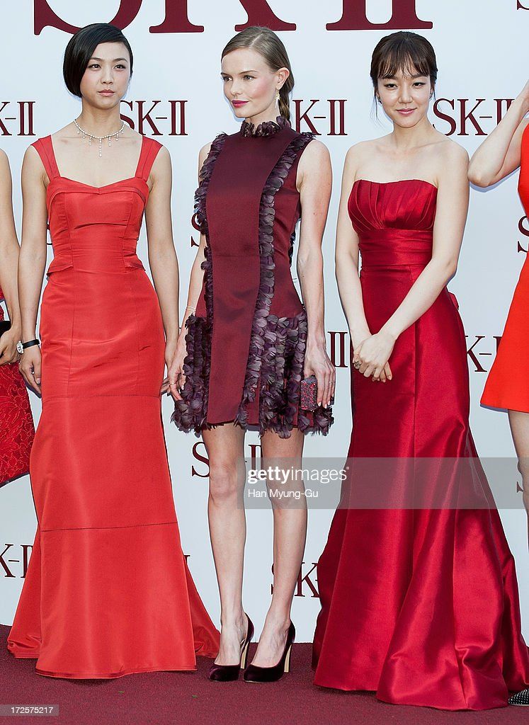Actors Tang Wei, Kate Bosworth and Lim Soo-Jung pose for the photogrpahs during the SK-II Honoring The Spirit Of Discovery event at the Raum on July 3, 2013 in Seoul, South Korea.