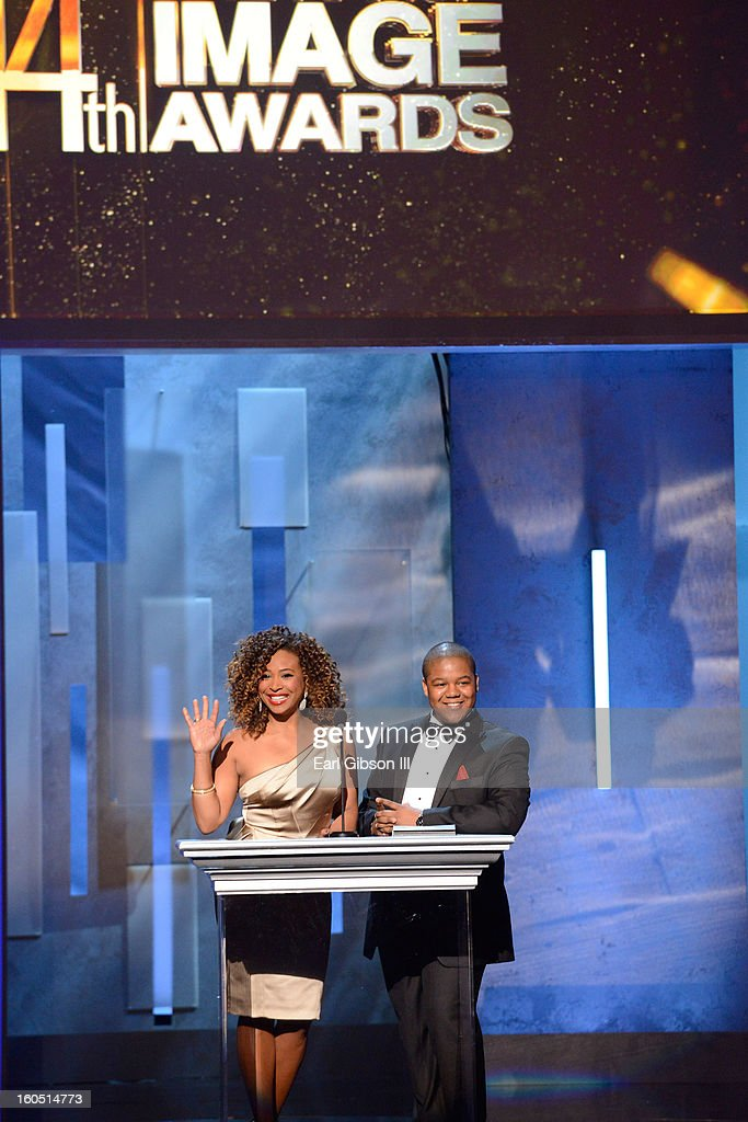 Actors Tanika Ray and Kyle Massey speak onstage at the 44th NAACP Image Awards at The Shrine Auditorium on February 1, 2013 in Los Angeles, California.
