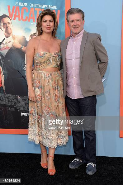 Actors Tanya Callau and Alan Thicke attend the premiere of Warner Bros 'Vacation' at Regency Village Theatre on July 27 2015 in Westwood California
