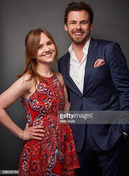 Actors Tara Lynne Barr and Tommy Dewey are photographed at the Hulu UpFront for TV Guide Magazine on May 4 2016 in New York City