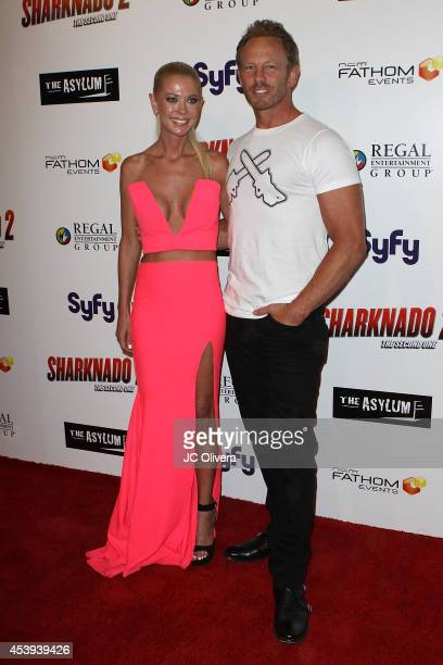 Actors Tara Reid and Ian Ziering attend 'Sharknado 2 The Second One' Los Angeles Premiere at LA Live on August 21 2014 in Los Angeles California