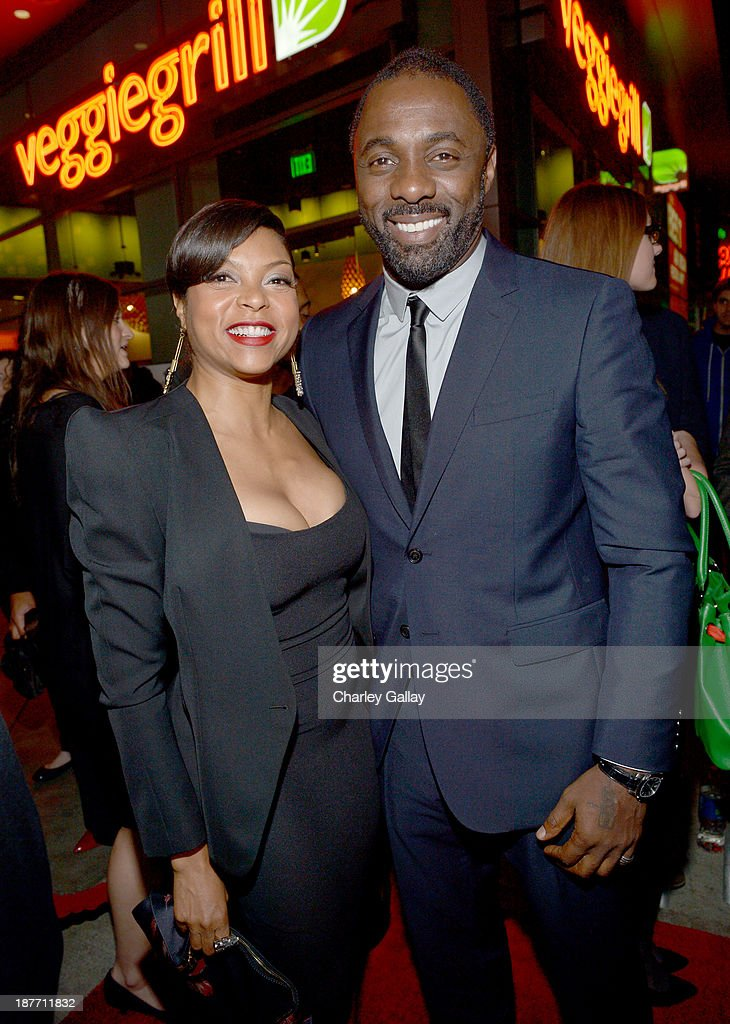 Actors <a gi-track='captionPersonalityLinkClicked' href=/galleries/search?phrase=Taraji+P.+Henson&family=editorial&specificpeople=208823 ng-click='$event.stopPropagation()'>Taraji P. Henson</a> (L) and <a gi-track='captionPersonalityLinkClicked' href=/galleries/search?phrase=Idris+Elba&family=editorial&specificpeople=215443 ng-click='$event.stopPropagation()'>Idris Elba</a> attend 'The Weinstein Company Presents The LA Premiere Of 'Mandela: Long Walk To Freedom' Supported By Burberry' at ArcLight Hollywood Cinerama Dome on November 11, 2013 in Los Angeles, California.