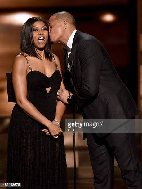 Actors Taraji P Henson and Terrence Howard speak onstage during the 67th Annual Primetime Emmy Awards at Microsoft Theater on September 20 2015 in...
