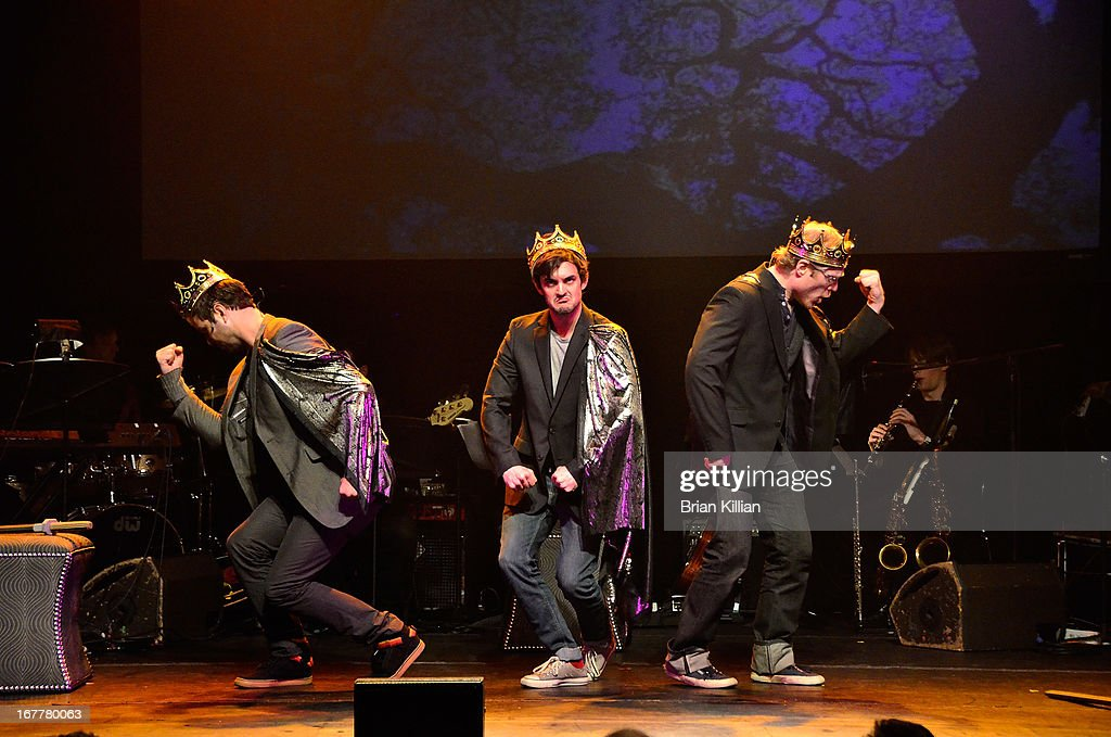 Actors Taran Killam, Wesley Taylor and Anthony Rapp perform during the 24 Hour Musicals 2013 at the Gramercy Theatre on April 29, 2013 in New York City.