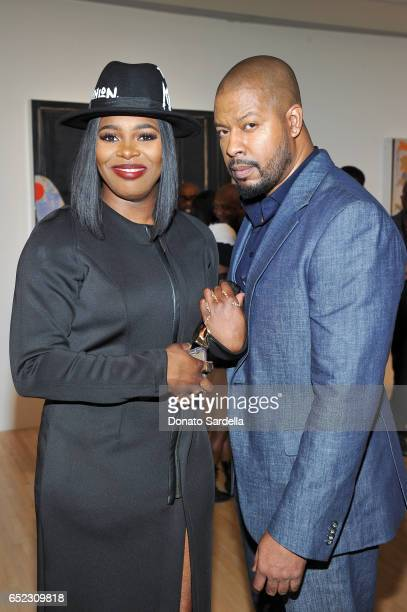 Actors Ta'Rhonda Jones and Morocco Omari attend MOCA's Leadership Circle and Members' Opening of Kerry aJames Marshall Mastry at MOCA Grand Avenue on...