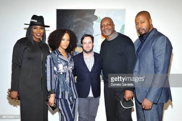 Actors Ta'Rhonda Jones and Serayah McNeill producer Danny Strong artist Kerry James Marshall and actor Morocco Omari attend MOCA's Leadership Circle...