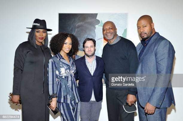 Actors Ta'Rhonda Jones Serayah McNeill producer Danny Strong artist Kerry James Marshall and actor Morocco Omari attend MOCA's Leadership Circle and...