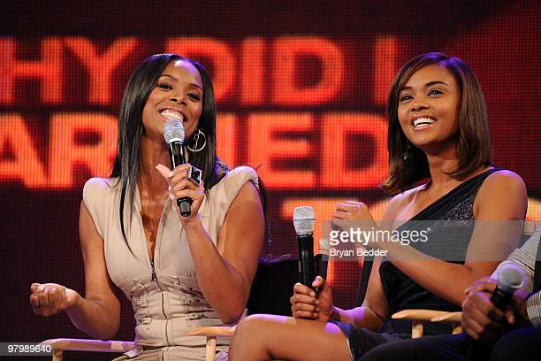 Actors Tasha Smith and Sharon Leal visit BET's 106 Park at BET Studios on March 22 2010 in New York City