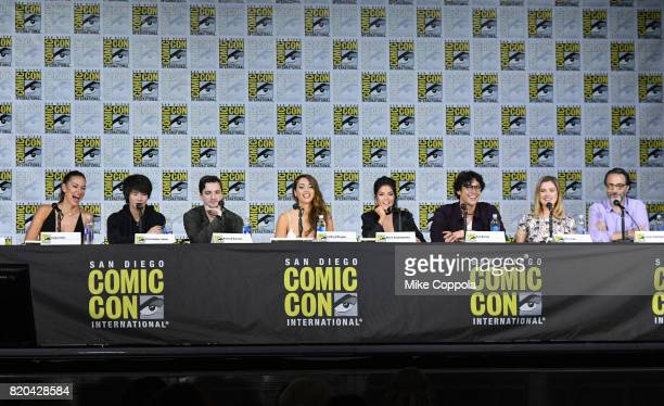 Actors Tasya Teles Christopher Larkin Richard Harmon Lindsey Morgan Marie Avgeropoulos Bob Morley and Eliza Taylor and writer/producer Jason...