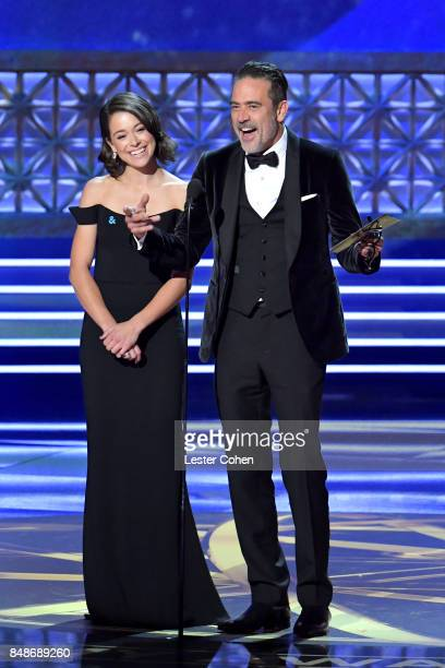 Actors Tatiana Maslany and Jeffrey Dean Morgan speak onstage during the 69th Annual Primetime Emmy Awards at Microsoft Theater on September 17 2017...